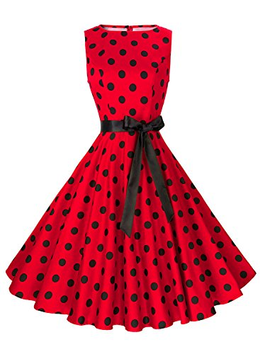 Anni Coco Women's 1950s Hepburn Vintage Swing Dresses With Ribbon Belt Red & Black Polka Dots XX-Large