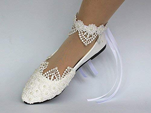 3e54940bb5c Amazon.com  Sweet women Stylish Pearls Flat Wedding Shoes For Bride 3D  Floral Appliqued Prom High Heels Plus Size Pointed Toe Lace Bridal Shoes   Handmade