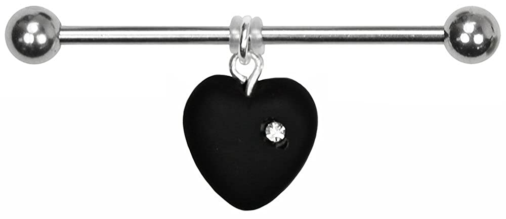 Black BodySparkle Body Jewelry Juliet Heart Industrial Barbell-14g-47mm-Czech Glass Heart Dangle Industrial Bar