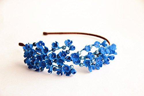 Accessories for brides HANDMADE , Blue flower hair accessory, hair accessories, Headband -TENDERNESS-blue flower girl crown by Floren