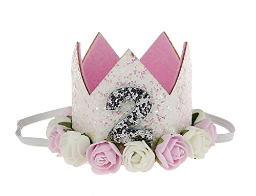 Baby 2nd Birthday Princess Glitter Tiara Crown Party Hair Accessories Flower Headbands Pink White Rose Pink White -