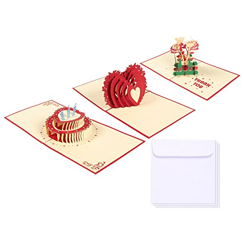 Set of 3 Assorted All Occasion Greeting Cards - 3D Popup Cards with Thank You, Valentine's Day, Birthday Themes - Includes Envelopes, 4.75 x 4.75 Inches