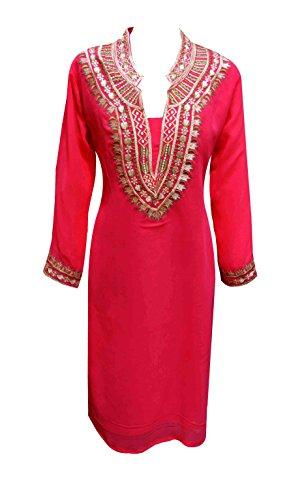 Indian Túnica para mujer Kurti con thread trabajo túnicas kurta caftán mujer Tops London en Talla M, L, XL, XXL, XXXL UK 6050 Brink Pink