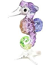 Lampwork COLLECTIBLE MINIATURE HAND BLOWN Art GLASS New Seahorse, Purple FIGURINE