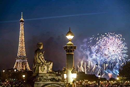 Bastille Place - Paris, Photography, Bastille Day, 14 Juillet, fireworks, Eiffel Tower, Place Concorde, statue, street lamp, beacon, lit up, France, Europe, Art Print, Wall Art, Gift, Decor, Photo