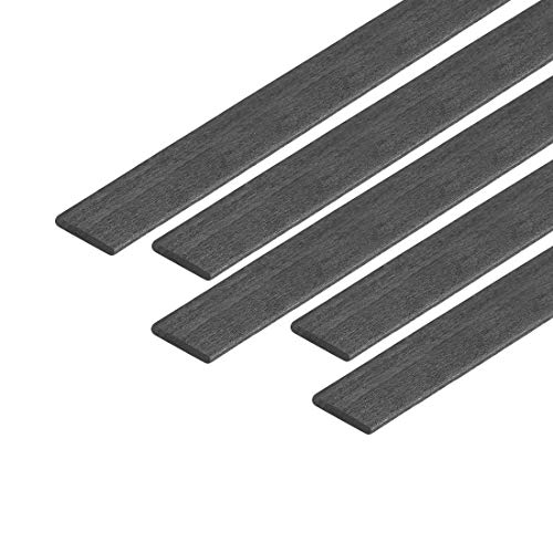 ZCHXD Carbon Fiber Strip Bars 1x5mm 200mm Length Pultruded Carbon Fiber Strips for Kites, RC Airplane 5 Pcs
