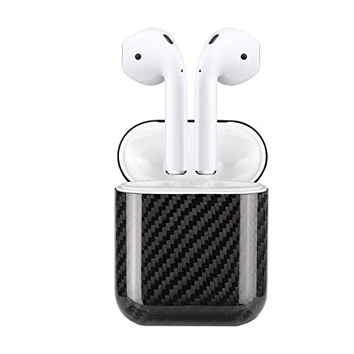 Matte Black MONOCARBON Genuine Carbon Fiber Case Compatible for AirPods 2 with Wireless Charging Case Apple Wireless Headset Headphone Case Box Wireless Bluetooth Earphone Protective Case