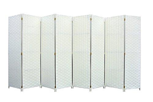 Legacy Decor Room Divider 8 Panel Weave Design Fiber Ivory Color