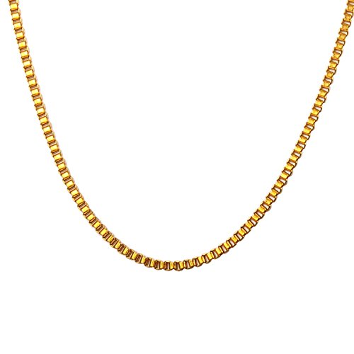 Stainless Steel 2mm Box Chain Necklace (Gold Plated) - 4
