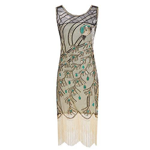 Women's Sequined Dresses 1920s Sequins Beads Sleeveless Long Tassel Inserts Dress Elegant Evening Dress (XL, Gold) by KoLan Women Dress (Image #1)
