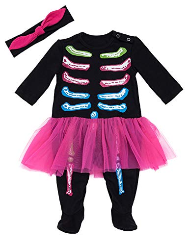 Skeleton And Baby Skeleton Costumes - Aslaylme Halloween Baby Girls Skeleton Costume
