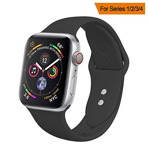 YC YANCH Compatible for Apple Watch Band,Soft Silicone Sport Band Replacement Wrist Strap Compatible for iWatch Series 4,Series 3/2/1 Nike+,Sport,Edition,38mm 40mmM/L,Black