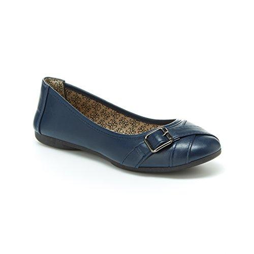 Harborsides Grape Women Comfort Flats - Memory Foam Insole, Flex A Lite Outsole Navy Ladies Shoes