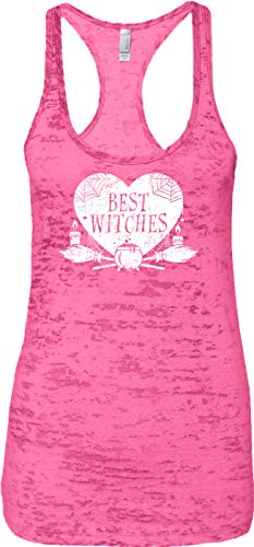Blittzen Ladies Tank Best Witches - Halloween Pun Besties, L, Pink