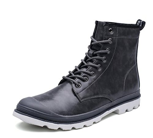 LINYI MEN Martin Boots Genuine Leather Casual High Tube Lace Hiking Military Tactical Boots Wear-Resistant Grey V4ehiqQZ