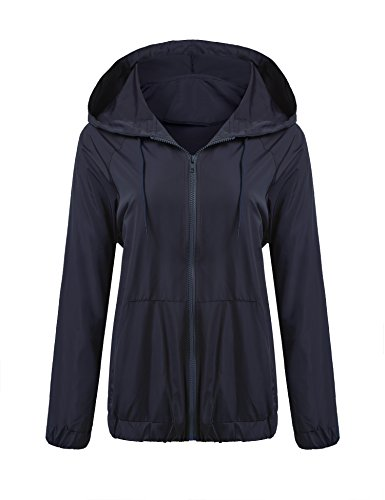 Beyove Womens Rainwear Active Outdoor Hooded Cycling Packable and Lightweight Jacket