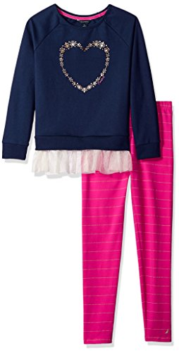 Nautica Big Girls' Two Piece Long Sleeve Legging Sets, Navy, 7