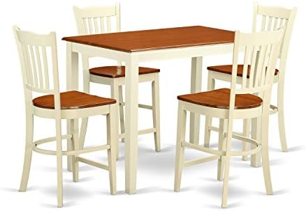 YAGR5-WHI-W 5 Pc counter height Dining set – counter height Table and 4 Kitchen Chairs.
