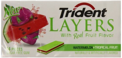 Trident Layers Sugar Free Gum (Watermelon & Tropical Fruit, 42-Piece, 20-Pack) by Trident