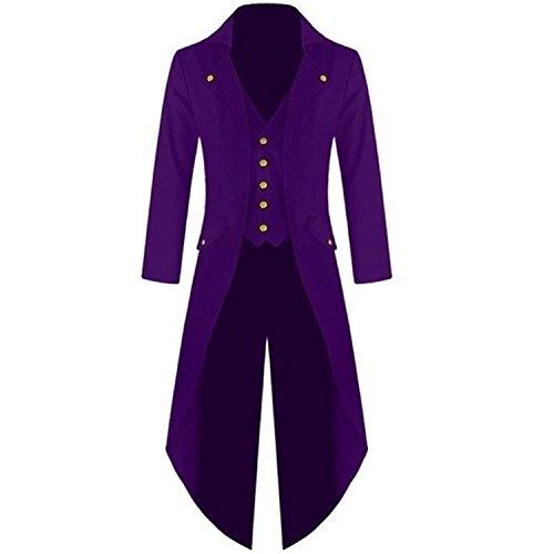 Classic Men Coats Steam Punk Retro Tuxedo Gentleman Jackets Suits Black Men's Party Dovetail Windbreaker Plus Size 4XL Purpul L