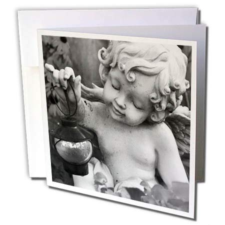 3dRose Stamp City - Sculptures - Photograph of Black and White Angel Statue Holding Lantern. - 12 Greeting Cards with envelopes (gc_289736_2) (Lantern With Statue Black)