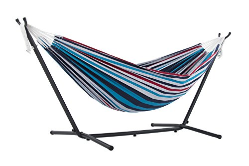 Vivere Double Hammock with Space Saving Steel Stand, Denim (Stand Fabric Double Steel Hammock With Vivere)
