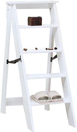 Escalera Plegable de Madera de 5 Pasos Ligero portátil para niños Adultos Multiusos para el baño en casa Decoración: Amazon.es: Hogar