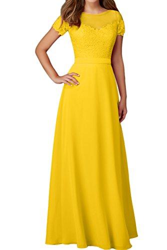 Mit Festkleider Spitze Golden Damen Rundkragen Ivydressing Aermeln Elegant Abendkleider Ballkleid 6ttpqwf