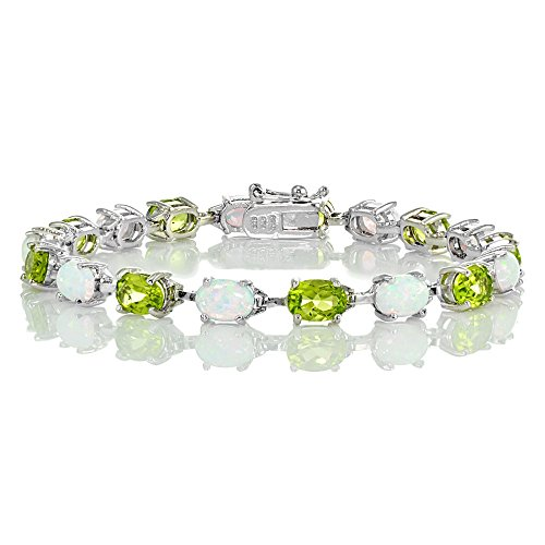 Ice Gems Sterlilng Silver Gemstone and Created White Opal 7x5mm Oval-Cut Tennis Bracelet