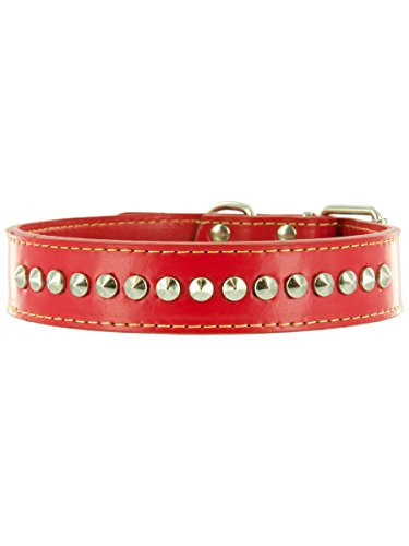 "Kakadu Pet Buster Leather Studded Dog Collar, 3/4"" x 17 1/2"", Red"