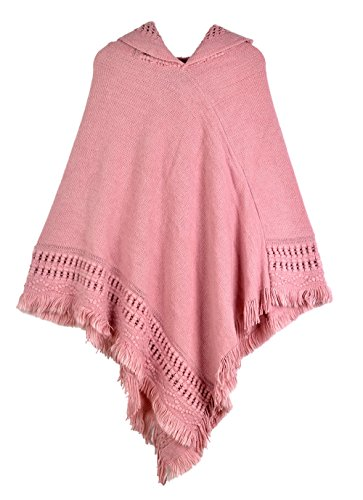 Womens Knitted Hooded Poncho Tops Shawl Cape Batwing Blouse With Fringed Sides For Lady (Pink) by Sefilko