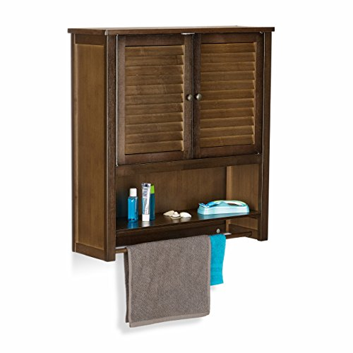 Relaxdays LAMELL Dark Brown Wall Cabinet, Bamboo Bathroom Cupboard with Towel Holder, 3 Shelves, 66 x 62 x 20 cm by Relaxdays