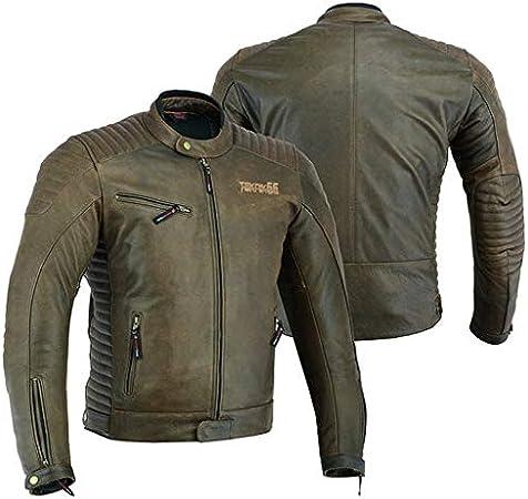 rovinata marrone DC-2809A LeatherTeknik Giacca da motociclista in pelle per uomo con armatura per motociclisti stile vintage