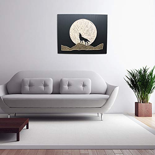 DIY Thread Winding Three-Dimensional Night Wolf Decorative Painting, Home Decor Mural DIY Material Package Decompression Tabletop Decoration Ornament, Parent-Child Manual Interactive Game by Home Decoration (Image #1)