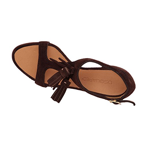 Wedge Brown High Tassel T Women Brown Sandals Heels Slim Strap DSQUARED2 Suede Shoes 58w0xq