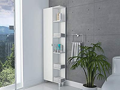 TUHOME Urano Storage Cabinet/Linen Cabinet/Bathroom Cabinet with 5 Open External Storage Shelves and 1 Cabinet W/ 3 Adjustable Shelves