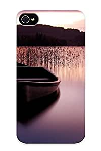 Beautifulcase case, Fashionable Iphone 4/4s case cover - Water Mountains Boats Lakes WisrUp54vYU Reeds