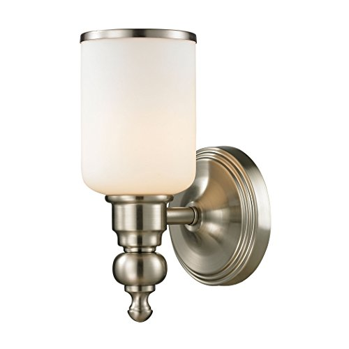 Alumbrada Collection Bristol Way 1 Light Vanity In Brushed Nickel And Opal White Glass