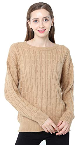 Ailaile Cashmere Sweater Women Winter Crew Neck Twist Thick Pullover Wool Bottoming Loose Jumper