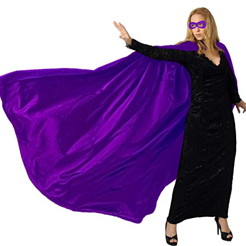 Men & Women's Superhero-Cape or Cloak with Mask for Adults Party Dress up Costumes (Purple) -