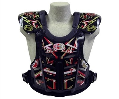 HRP Flak Jak IMS RC Motocross Chest Protector Black Red Gold Roost Deflector (youth (95-125 lbs), red