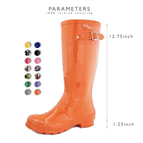Women's Orange High Rain Rainboots Hunter DailyShoes Mid Round Knee Calf Toe SwnZqTd