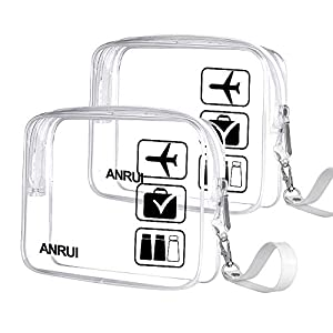 2pcs/Pack ANRUI Toiletry Bag with Strap, TSA Approved Carry On Airport Airline Compliant Bag Quart Sized 3-1-1 Kit…