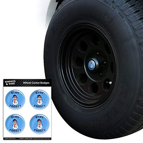 - Graphics and More Stay Frosty Chill Snowman Funny Humor Tire Wheel Center Cap Resin-Topped Badges Stickers - 2.4
