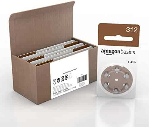 AmazonBasics Size 312 Hearing Aid Batteries, 60-Pack