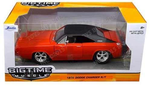 New 1:24 W/B BIG TIME MUSCLE - RED 1970 DODGE CHARGER R/T Diecast Model Car By Jada Toys