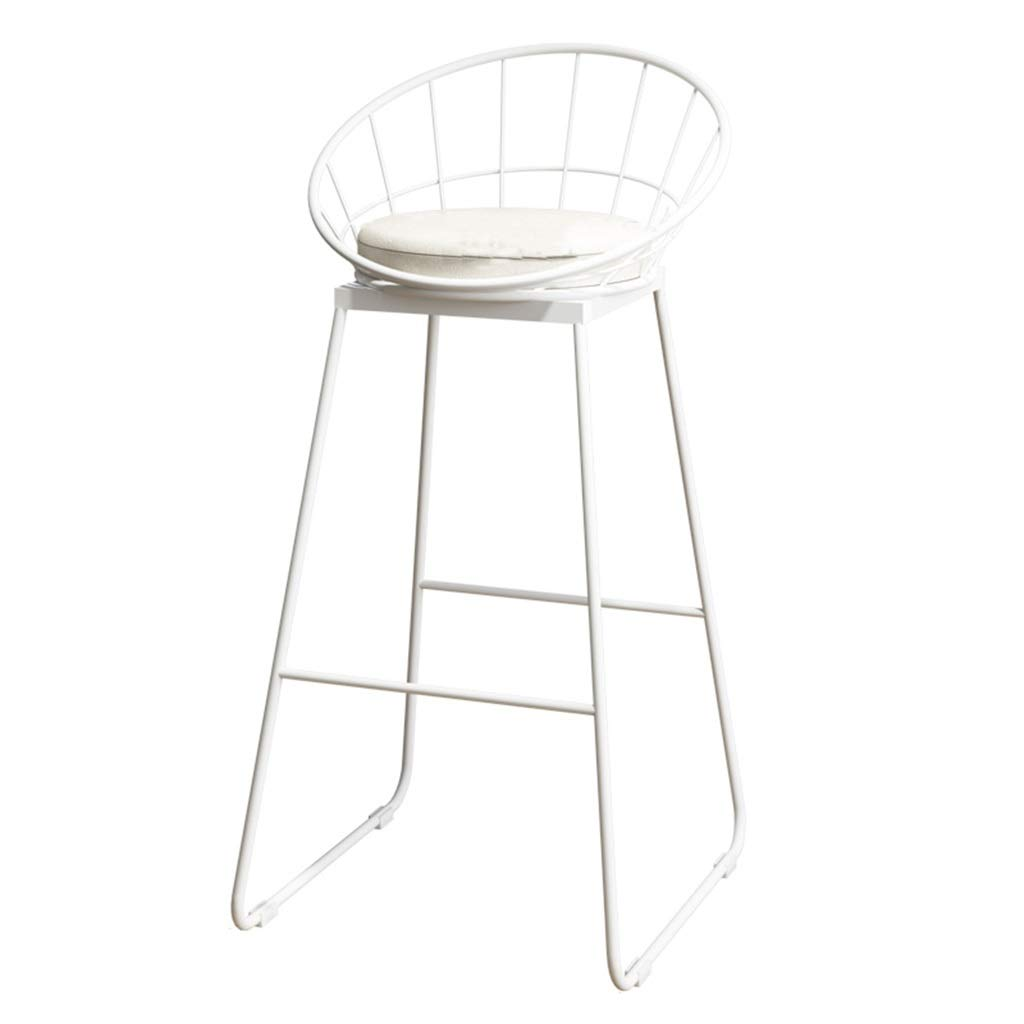 42x44x75cm Barstools Chair Bar Stool Breakfast Chair High Chair and Cushion Seat Back Comfort Kitchen Breakfast Counter Greenhouse Bearing 150 Kg White (Size   42x44x65cm)