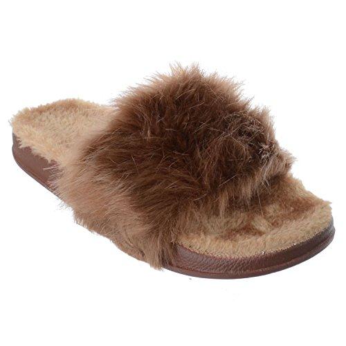 Sandales Tongs CURSEURS Fourrue Confortable Plat Taille Marron Pantoufles Neuf Miss UK Moelleux Image Femmes xwqYv88P