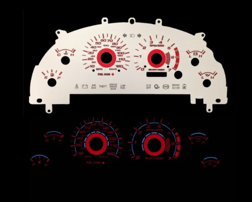 Brand New White Face Red Indigo Reverse Glow Gauges For 99-04 Mustang V6 (I-116rd) (White Gauge Reverse Glow)