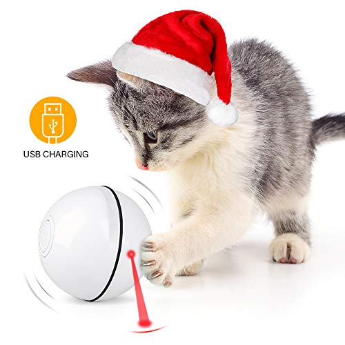 Unibelin Interactive Cat Toy Ball-Smart Pet Toy Self Rotation Rolling Ball USB Rechargeable Built-in LED Light for Cat Kitty Exercise Chase Play 2